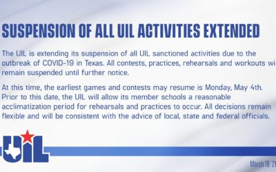 All UIL Contests Suspended